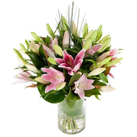Lilies - In Vogue Pink In Glass Vase (10)