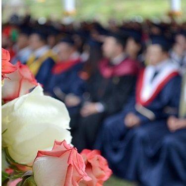 Flowers at graduation ceremony